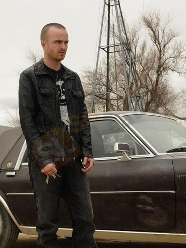 Aaron Paul Breaking Bad Black Leather Jacket